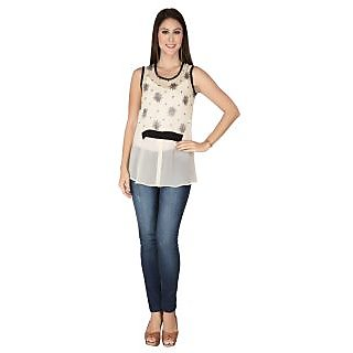 Soie Cream Georgette Round Neck Sleeveless Printed Top