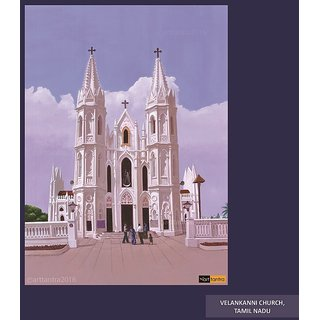 Art Tantra Fine art canvas painting of Velankanni church
