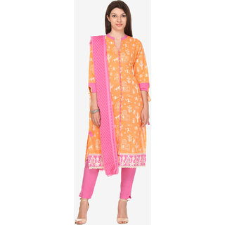 Varanga Orange Cotton Embroidered Dress Material
