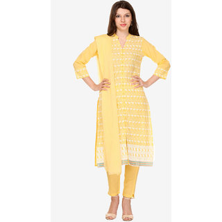 Varanga Yellow Cotton Embroidered Dress Material (Unstitched)
