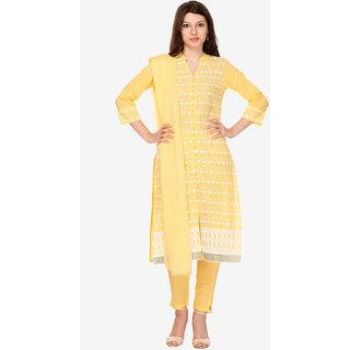 Varanga Yellow Cotton Embroidered Dress Material