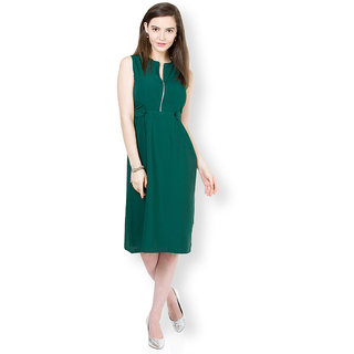 Tokyo Talkies Green Plain A Line Dress For Women