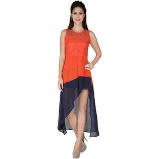 Soie Multi Crepe Round Neck Solid A-Line Dress