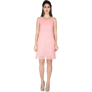 2a958a12fb9 Buy Soie Pink Georgette Round Neck Solid A-Line Dress Online - Get 50% Off