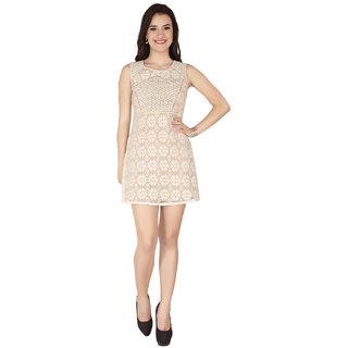 Soie White Net Round Neck Lace A-Line Dress