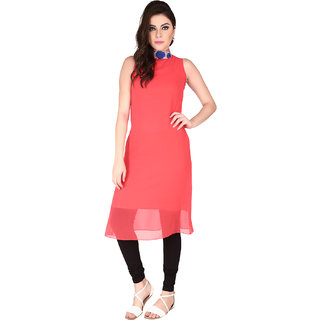 Soie Red Georgette High Neck Solid A-Line Dress