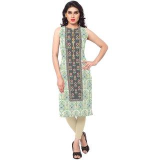 AHALYAA Green Printed Crepe Stitched Kurti