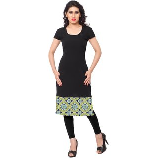 AHALYAA Black Printed Crepe Stitched Kurti