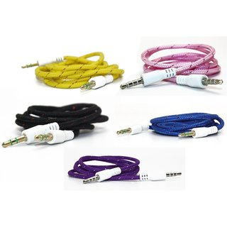 MJR 1 m Thick Cloth Aux Cable For Smart Phones (Any Color)
