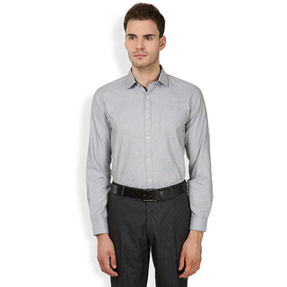 Mark Taylor Grey Button Down Full Sleeves Mens Casual Shirt