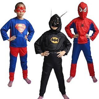 Triset-Spiderman,BatmanSuperman Costume For Kids