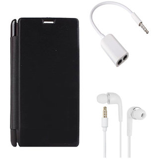 MuditMobi Premium Flip Cover With Earphone and Audio Splitter Cable For- Vivo Y15 - Black