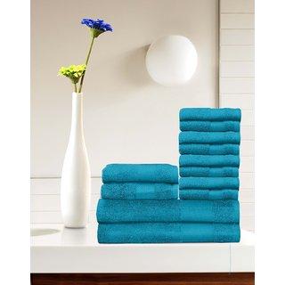 Tangerine 100 Cotton Blue 12 Pcs Towel Set