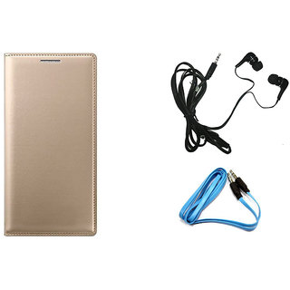 MuditMobi Premium Leather Flip Cover Case With Earphoneand Aux Cabel For- Gionee P5 Mini - Golden