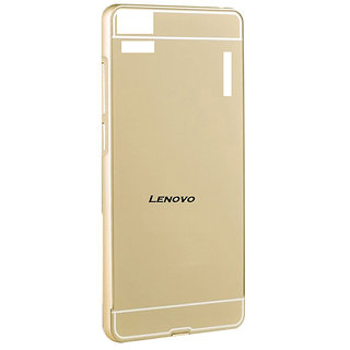 MuditMobi Luxury Metal Bumper Acrylic Mirror Back Cover Case For- Lenovo A6000- Gold