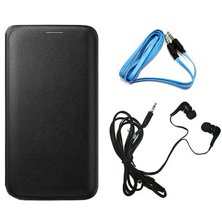MuditMobi Premium Leather Flip Cover Case With Earphone And Aux Cable For- Samsung Galaxy On5 - Black