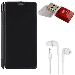 MuditMobi Premium Flip Cover With Earphone and Card Reader For- Micromax Canvas Nitro A310 - Black