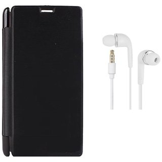 MuditMobi Premium Quality Flip Cover With Earphone For- Micromax Canvas Nitro A311 - Black