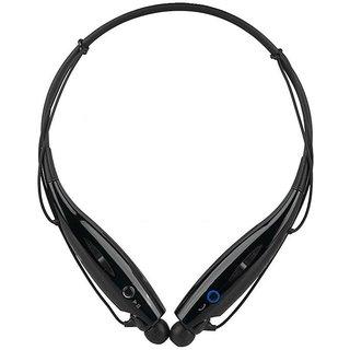 MuditMobi Wireless Bluetooth Mobile Phone Headphone Earpod Sport Earphone With Call Functions For- Lava Iris 444 - Black Mudit125