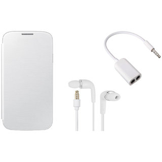 MuditMobi Premium Flip Cover With Earphone and Audio Splitter Cable For- Micromax Bolt A069 - White