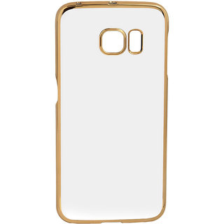 MuditMobi Stylish MeePhone Soft Silcon Back Cover For- Samsung Galaxy S6 Edge- Transparent-Gold