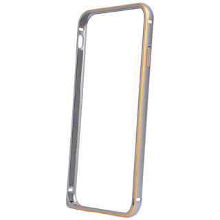 MuditMobi Luxury Aluminium Metal Side Bumper Case Cover For- Samsung Galaxy E7- Silver