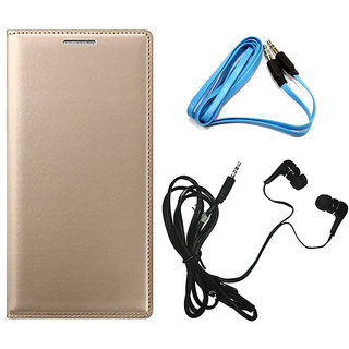 MuditMobi Premium Leather Flip Cover Case With Earphone And Aux Cable For- Samsung Galaxy E5 - Golden