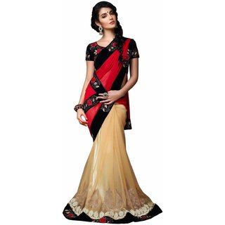 Anjali Exclusive Collection of Red  Beige Georgette  Net Saree
