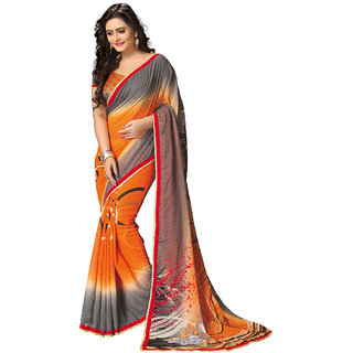 Anjali Exclusive Collection of Orange and Grey Georgette Saree