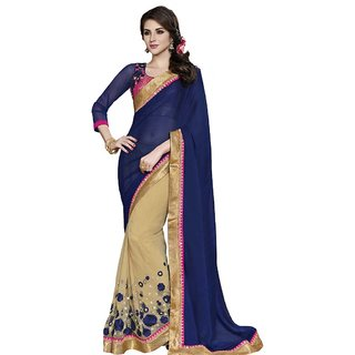 Anjali Exclusive Collection of Blue and Beige Chiffon Georgette and Net Saree