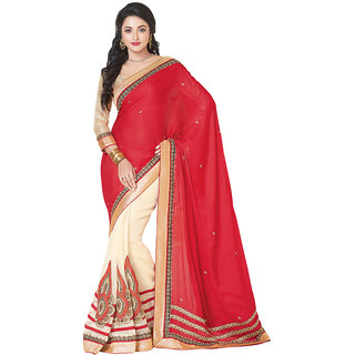 Anjali Exclusive Collection of Red  Off-White Georgette Saree