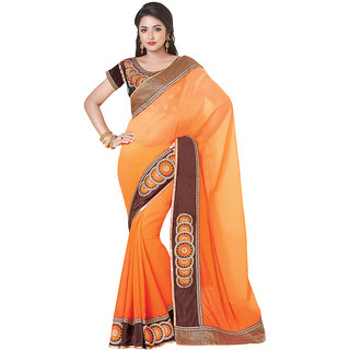 Anjali Exclusive Collection of Orange Chiffon Saree