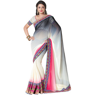 Anjali Exclusive Collection of White  Pink Georgette Saree