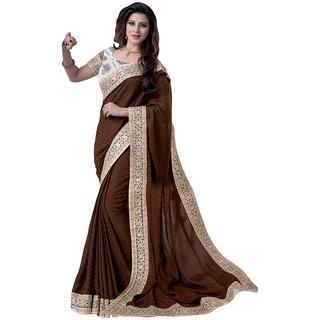 Anjali Exclusive Collection of Brown Satin Jacquard Saree
