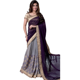 Anjali Exclusive Collection of Purple  Grey Chiffon Saree
