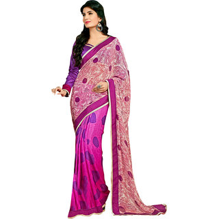 Anjali Exclusive Collection of Pink Georgette Saree