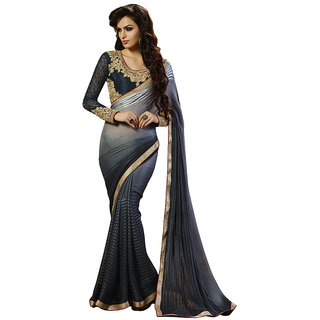 Anjali Exclusive Collection of Grey Georgette Saree