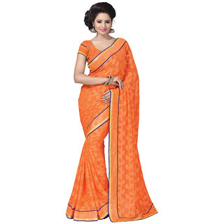 Anjali Exclusive Collection of Orange Georgette Saree