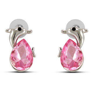 Fab Fashion Pink Crystal Dolphin Fish Earring  For Earring EA25169
