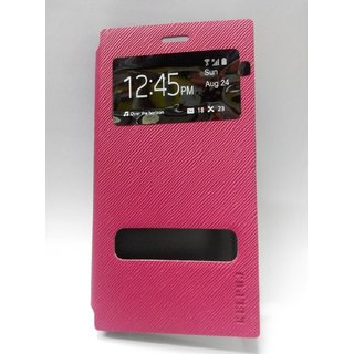 Kelpuj Brand Quality Touch Line feel design Caller ID Flip Cover for redmi  Mi3 - Pink