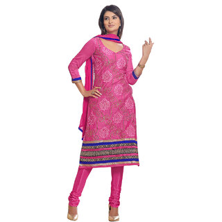 Surat Tex Magenta Color Party Wear Embroidered Chanderi Semi-Stitched Salwar Suit-I39DL6024