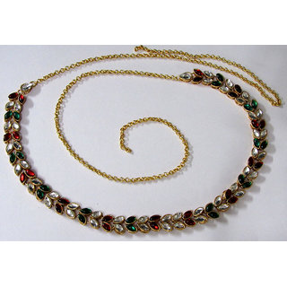Multi Colour Kundan Stone Waist Belt