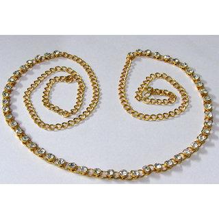 Golden White Stone Single Line Waist Belt