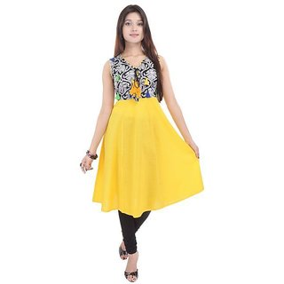 PARINITA PRINTED YELLOW KURTI 140711