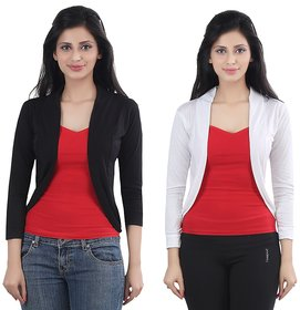 Stylish Combo Of Black  White Short Shrugs By Bfly