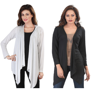 ed4b9ad1437 Buy Bfly Combo Of Black White Long Shrugs Online - Get 59% Off
