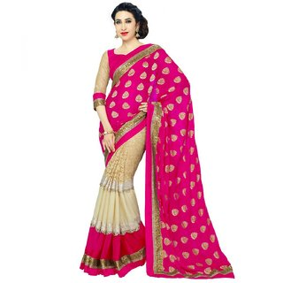 Neeta Pink  Chiffon Designer Partywear saree with blouse Piece