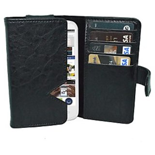 Totta Wallet Case Cover for Celkon Campus A63 (Black)