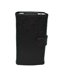 Totta Wallet Case Cover for Intex aqua V 5 (Black)
