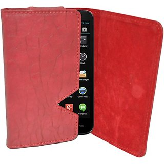 Totta Wallet Case Cover for Celkon Millennium Ultra Q500 (Red)